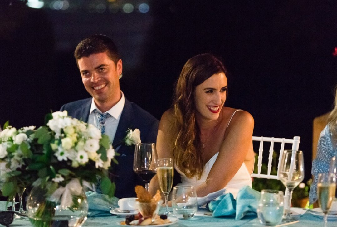 Bride and groom at Wedding speech in Malaga