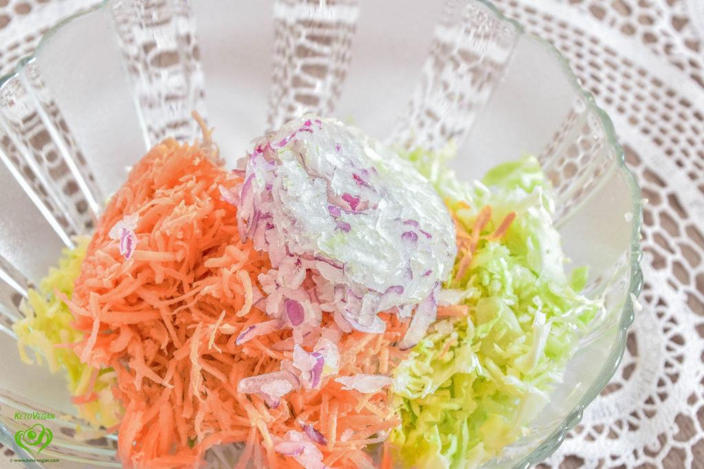 Salad ingredients in a bowl   keto-vegan.com