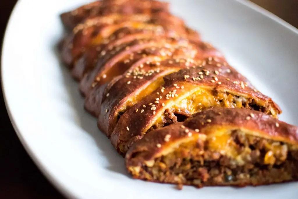 Low Carb Bacon Cheeseburger Stromboli -keto cake walk-