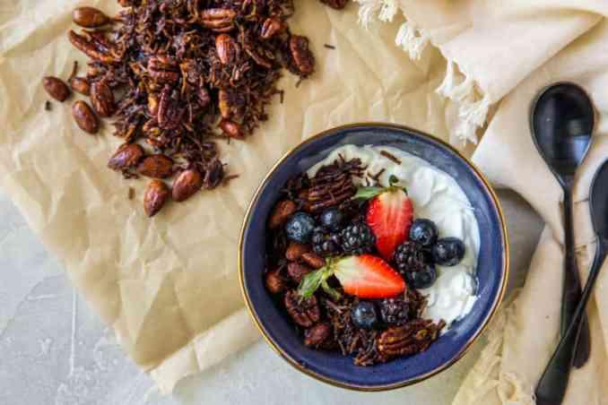 granola and yogurt with fruits on top