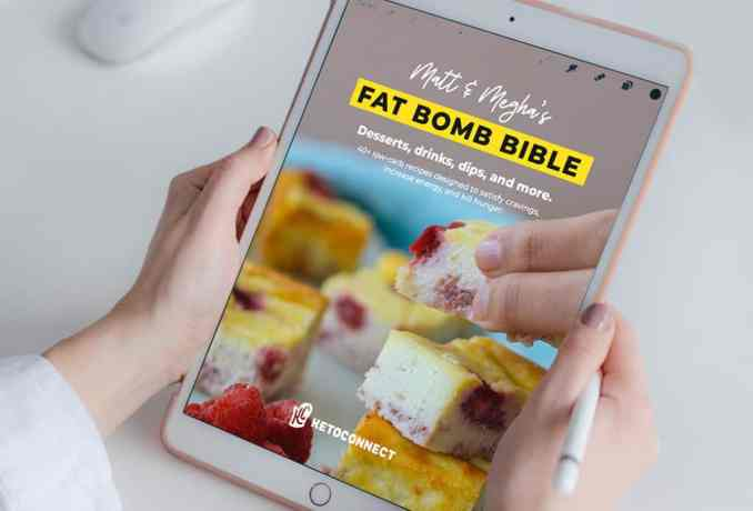 fat bomb bible ebook being viewed on a tablet, recipes that will help you not feel hungry on keto