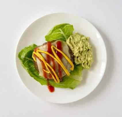 Bunless burger with avocado