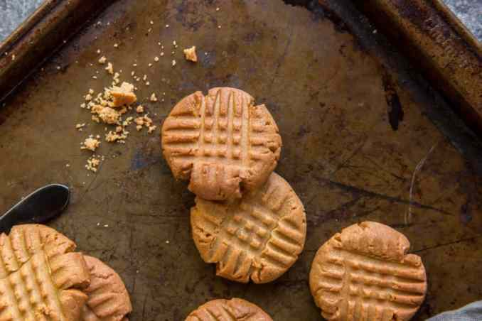 Cooled Peanut Butter Cookies on a baking tray