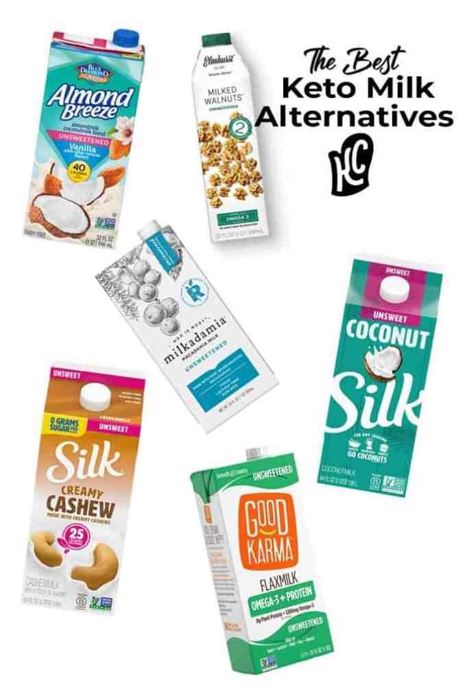 visual diagram of the best keto milk alternatives