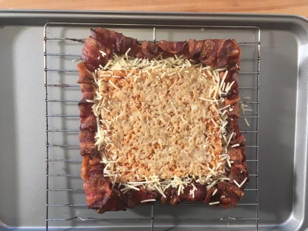 Parmesan Crisp in Bacon Weave