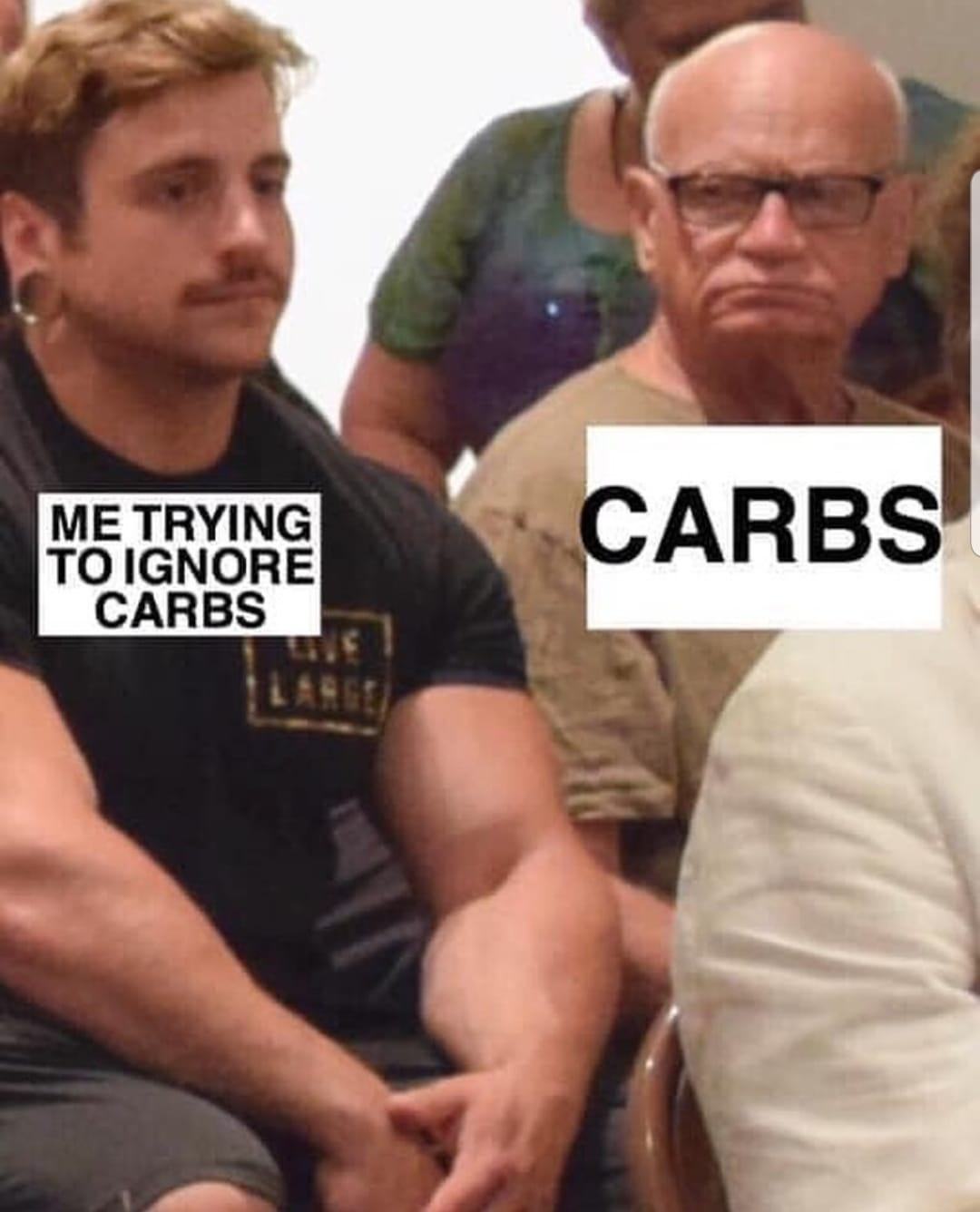 trying to not eat carbs - man look at body builder