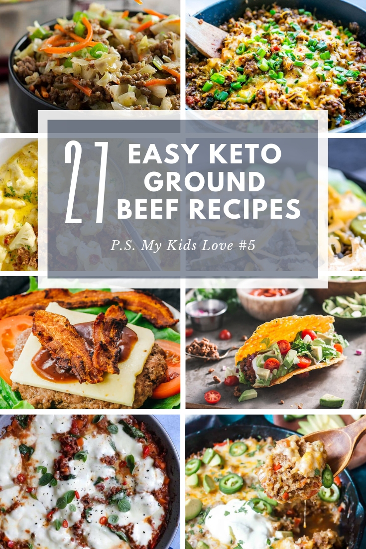 We\'ve put together 27 of the best keto ground beef recipes for easy and delicious low carb dinners.   From Mexican to Asian to one pot wonders to comfort food favorites, you\'ll want to save this pin and refer to it often for simple weeknight meals to weekend treats.  #ketorecipes #easyketo