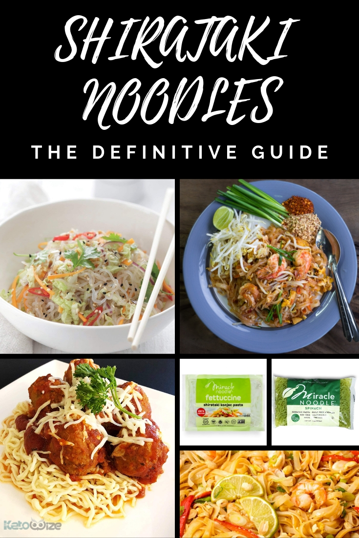 We've put together the best guide to Shirataki Noodles - the low carb alternative to pasta and rice noodles.  Use these no carb noodles to make pad thai, ramen, pho, spaghetti, mac and cheese and more.  We've included delicious shirataki noodle recipes, plus info on how to cook and where to buy them.  This really is the definitive guide.  #shirataki #shiratakinoodles #lowcarbpasta