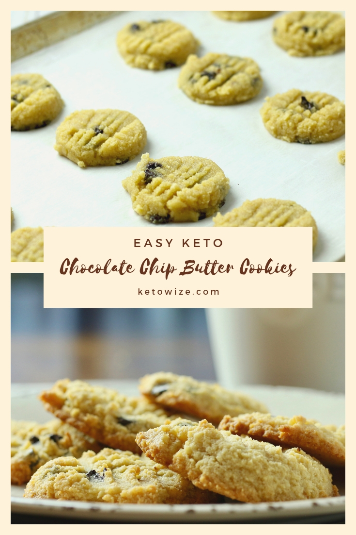 These easy keto chocolate chip butter cookies are the stuff ketogenic diet dreams are made of.  This simple recipe uses almond flour and butter to make a chewy and delicious low carb cookie.  Even the cookie dough tastes like the real thing. #ketorecipes #lowcarbrecipe