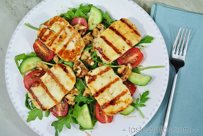 Grilled Halloumi Salad Keto Vegetarian Recipe