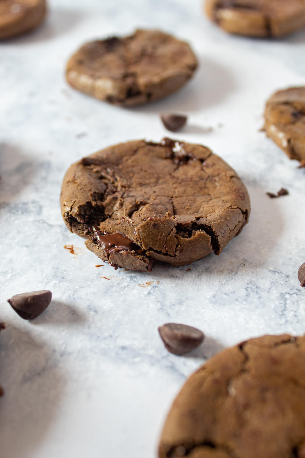 Ultimate Keto Double Chocolate Chip Cookies fresh out of the oven with extra sugar-free chocolate chips.