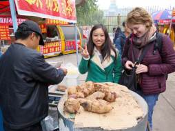 Me and Chaorong, my Sichuanese friend and often tour guide, buying roasted sweet potatoes (a staple for me and everyone else in the North).