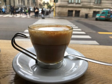 "A caffè macchiato (espresso drink ""marked"" with milk foam) at a bar in Milan, Italy. ©KettiWilhelm2017"