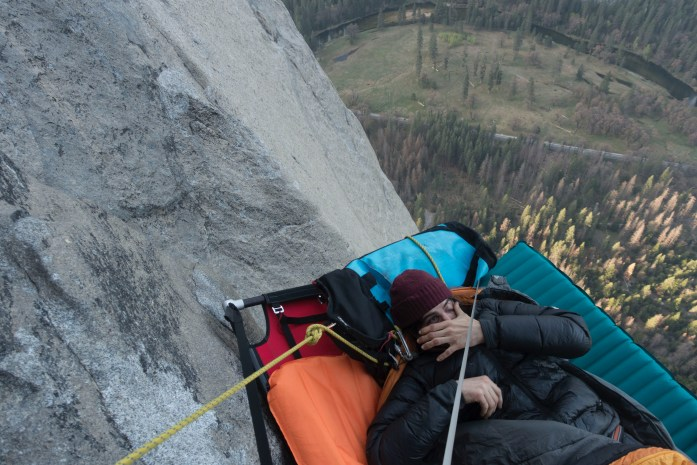 Waking up bleary-eyed in a tent dangling from the side of El Capitan, in Yosemite National Park. Photo ©SamuelWilson2018.