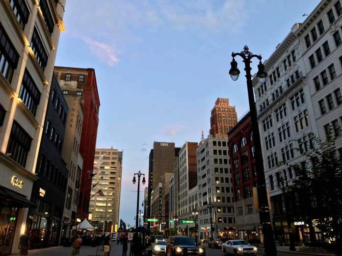 Woodward Avenue in downtown Detroit, Michigan, which is accessible by US passenger trains. ©KettiWilhelm2019