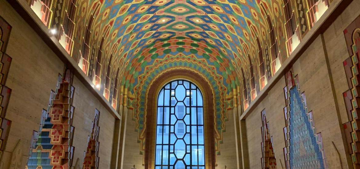 A colorful ceiling in downtown Detroit's Guardian building. ©EmanueleZambolin2019