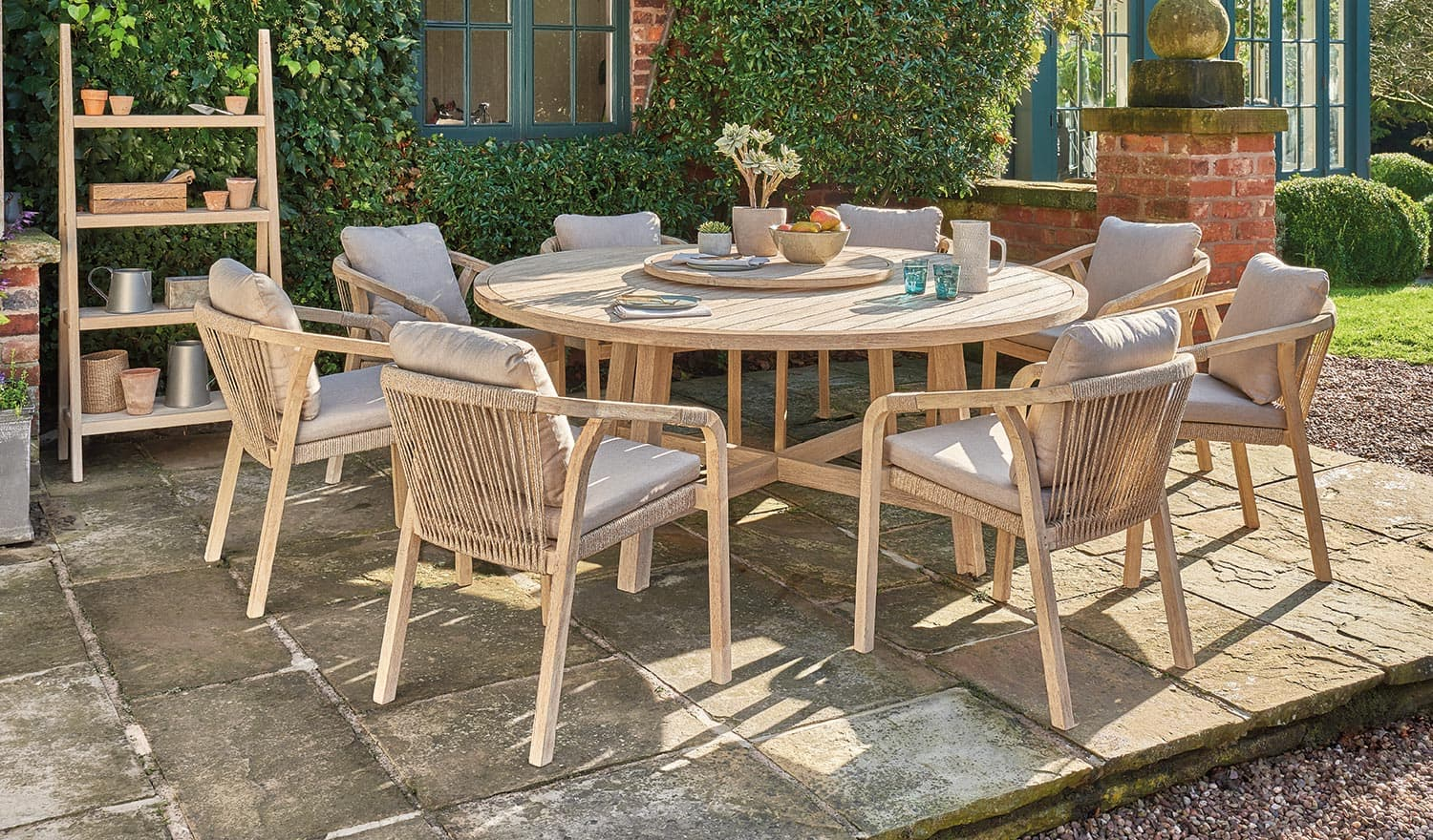 cora 180cm round dining table 8 seater