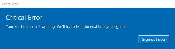Windows 10 Start Menu Critical Error