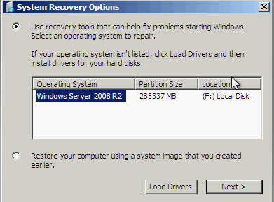 System recovery Options with OS