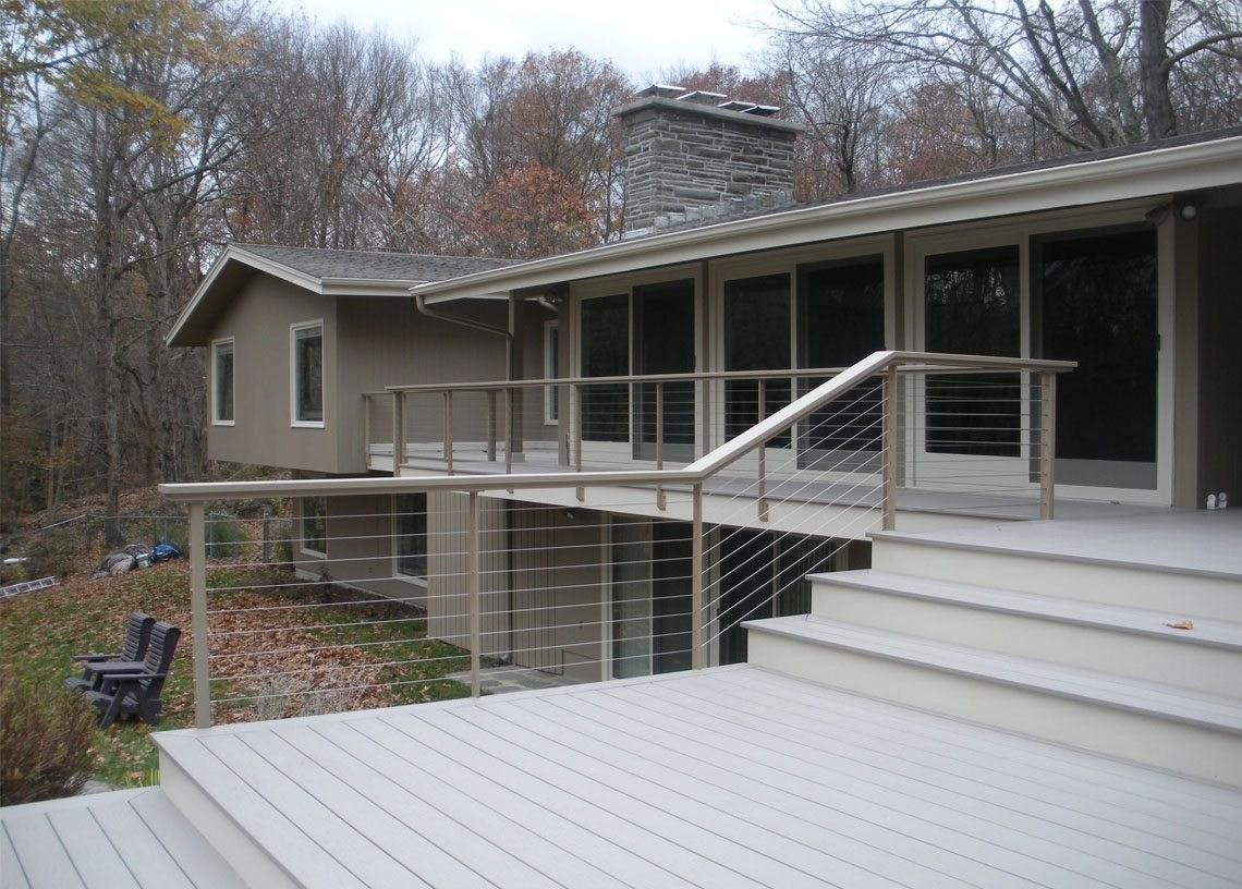 Modern Deck Railing Mid Century Modern Home Essex Ct Keuka Studios | Mid Century Modern Handrail | Cantilevered Spiral Stair | Art Deco | Modern Walnut | Tree Branch | Railing