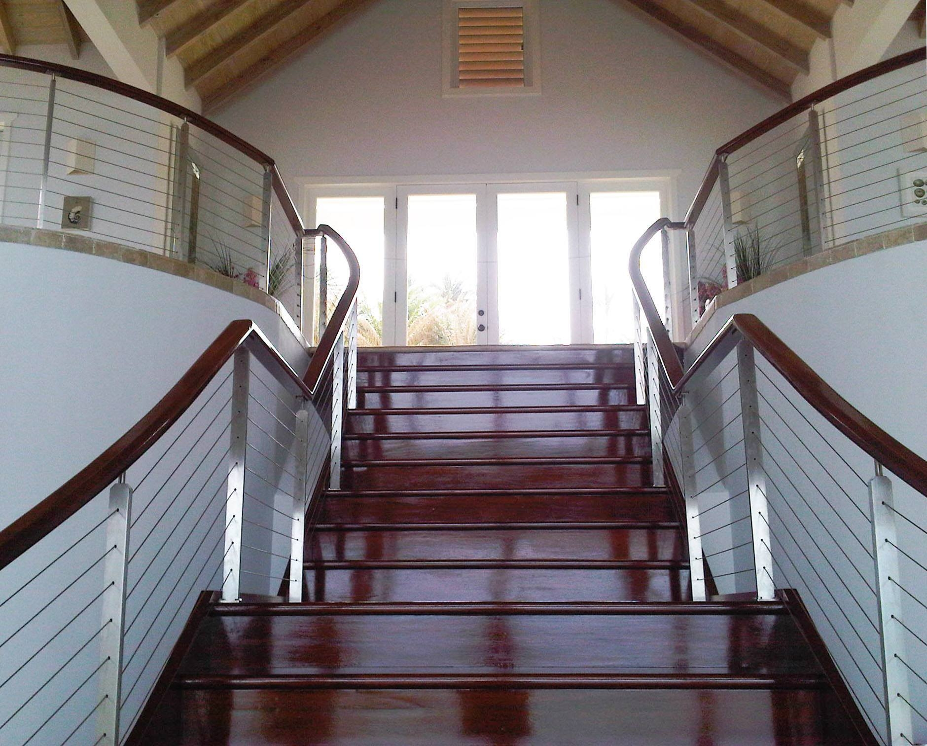 Stainless Steel Stair Railing Long Bay Antigua Keuka Studios   Ss Handrails For Stairs   Flat Steel   Mild Steel Handrail   Metal   Steel Railing   Commercial Building