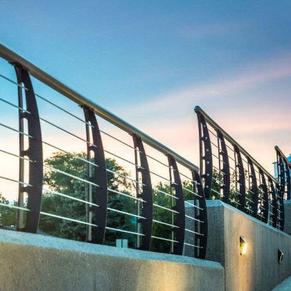 Cable Railings And Stairs Custom Designs By Keuka Studios | Concrete Stairs Design Outdoor | Beautiful | Roof Deck | Storage Underneath | Exterior | Modern