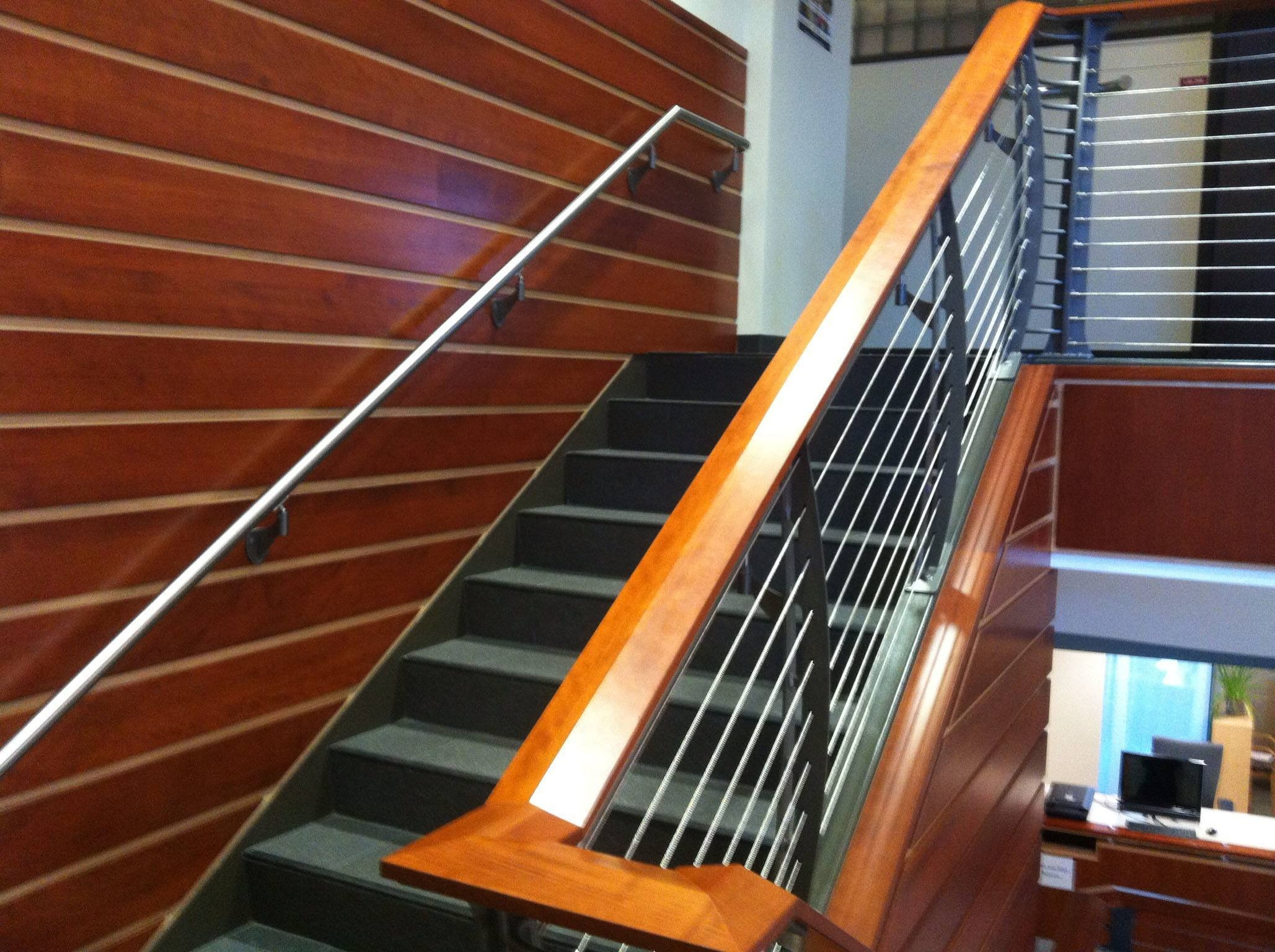 College Staircase With Cable Ada Railing Albany Ny Keuka Studios | Teak Wood Staircase Railings | Wood Frame | Hand | Sitout | Wood Carving | Lakdi