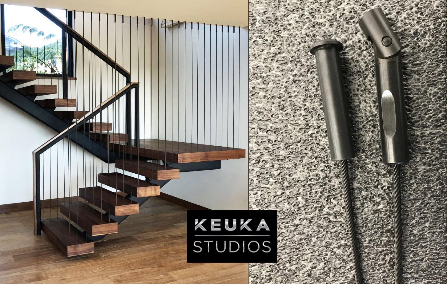 Black Stainless Steel Cable Railing By Keuka Studios | Black Metal Stair Railing | Minimalist Simple Stair | Craftsman Style | Brushed Nickel | Rustic | Horizontal