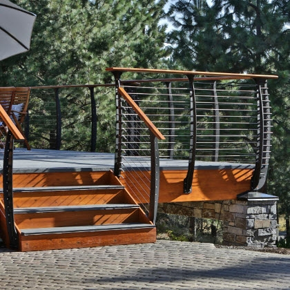 Cable Railing Custom Stairs Project Gallery Keuka Studios | Craftsman Style Exterior Stair Railings | Step | Black Iron | Fence | Craftsman House | Outdoor