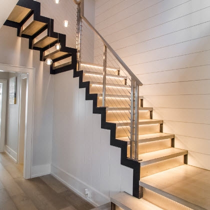 Led Lighted Railings And Stairs Keuka Studios   Lighted Handrails For Stairs   Wrought Iron Railing   Minimal   Antique   Basement   Stair Banister