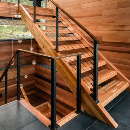 Cable Railings And Stairs Custom Designs By Keuka Studios   Stair Banisters And Railings   Residential   Guardrail   Indoor   Baluster   Metal