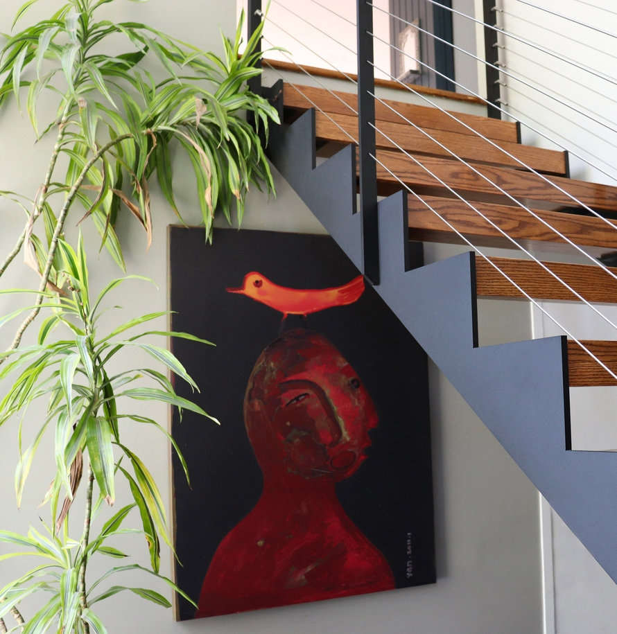 Mid–Century Modern Home Open Stairs Pittsford Ny Keuka Studios | Mid Century Stair Rail | Basement | Fixer Up | U Shape | Plywood | Hand