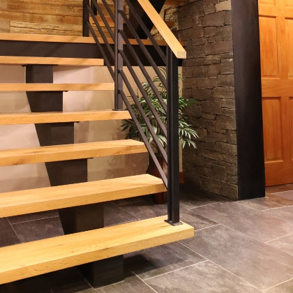Flat Bar Railing On Floating Staircase Keuka Lake Ny Keuka Studios   Flat Handrail For Stairs   Code Compliant   Stainless Steel Flat Bar   Type 2   Top   Flat Iron