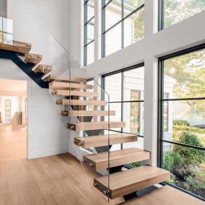 Cable Railings And Stairs Custom Designs By Keuka Studios   Stairway Designs For Homes   Limited Space   Entryway   Duplex India House   Step Side Wall   Traditional