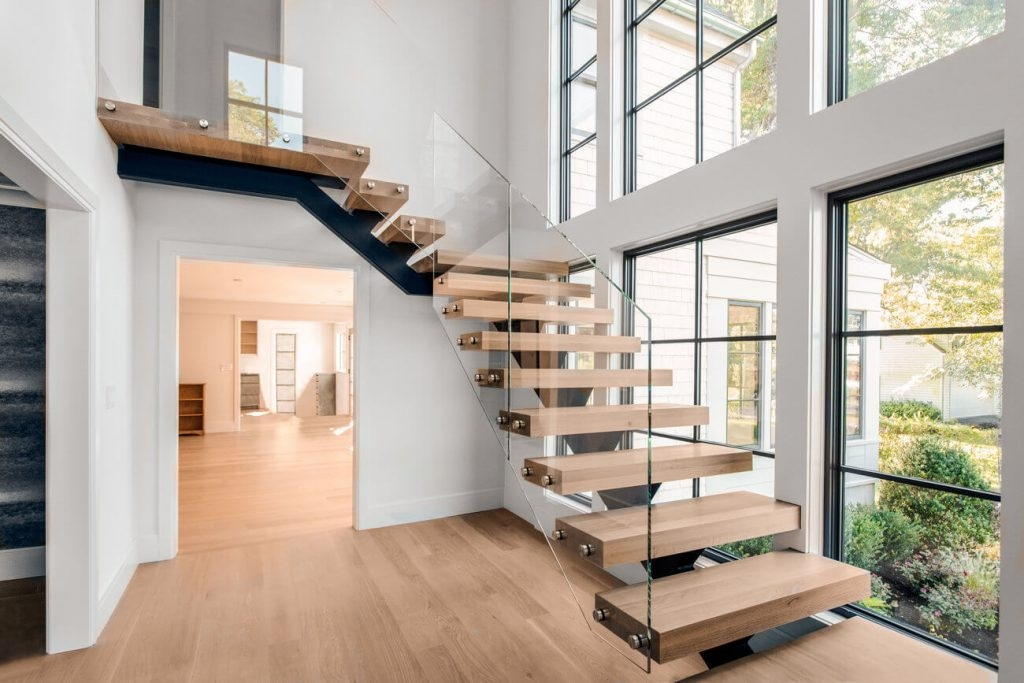 How Much Do Custom Floating Stairs Cost Keuka Studios   Staircase Wood And Glass   Commercial Wood   New   Ash Wood   Simple Glass   Glass Bal