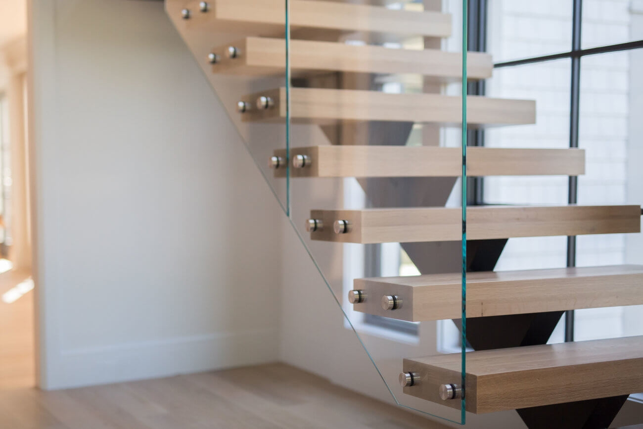 Glass Staircase Home Remodel Riverside Ct Keuka Studios | White And Glass Staircase | Before And After | American White Oak | Luxurious | High End Glass | White Handrail Treads