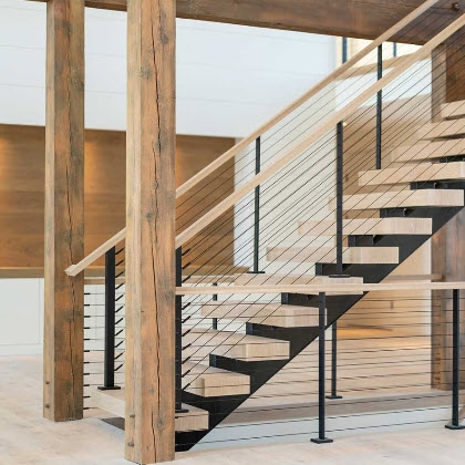 Cable Railing Custom Stairs Project Gallery Keuka Studios   Steel Railing For Steps   Balustrade   Simple   Fabrication   Carbon Steel   Wooden