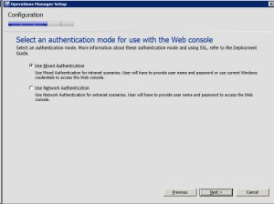 System Center Operations Manager 2012 - Authentication Mode