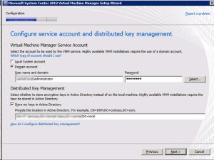 System Center VMM 2012 - Service Account