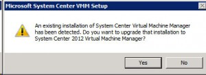System Center VMM 2012 - Upgrade