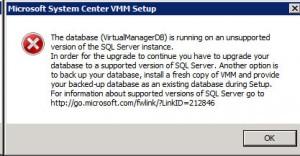 System Center VMM 2012 - Upgrade SQL