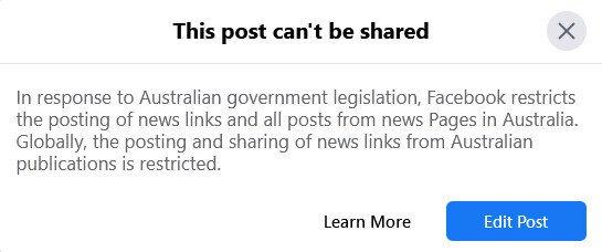 Facebook versus the Australian Government.