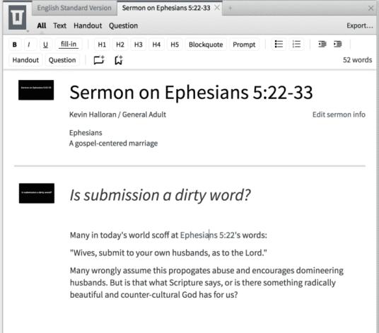 Logos Bible Software 7 Sermon Editor Screenshot