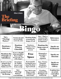 The OFFICIAL Bingo Card for The Briefing with Albert Mohler