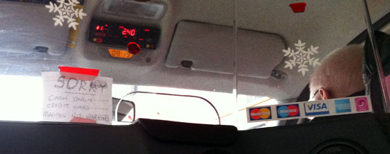 London taxi cash only - credit card machine not working