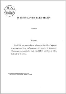 Hinchliffes Rule
