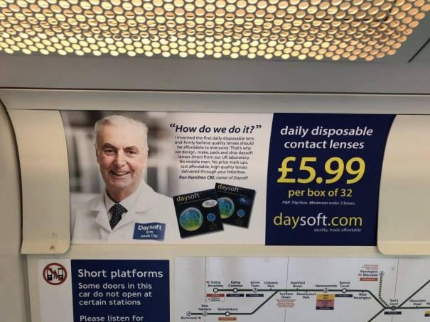 Daysoft advert on London Underground, 19 June 2108