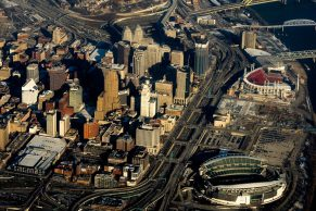 Aerial shot of downtown Cincinnati