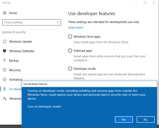 Enabling Ubuntu Bash shell on Windows 10 with the