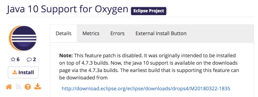 Taking a look at Java 10 with Eclipse Oxygen 3 (with not